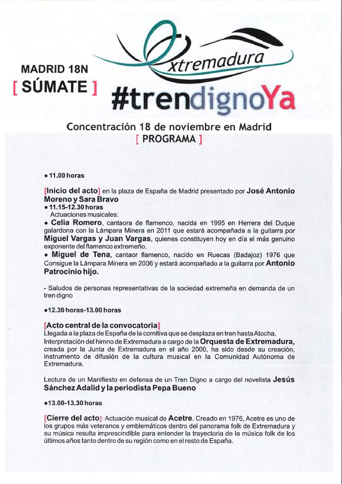 Programación Tren digno a Extremadura 18 noviembre 2017